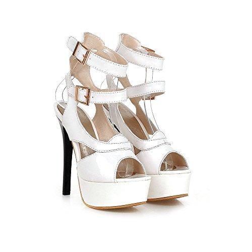 Damen Sexy High Heel Knöchelriemen 2 Schnallen Plateau Pumps Schuhe Sandalen (39, rot)
