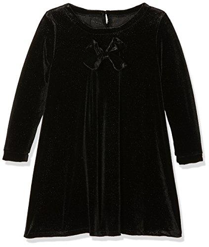 NAME IT Baby-Mädchen Kleid Nitfirikke LS Vel Dress F Mini, Schwarz (Black), 104 (Mädchen-schwarz-samt-kleid)