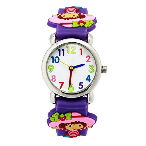 3D niedliche Karikatur-Quarz-Uhr-Armbanduhren mit Silikonband Zeitlehrer für kleine Mädchen-Jungen-Kind-Kind-Geschenk (Strawberry (Superhelden Cool Girl)