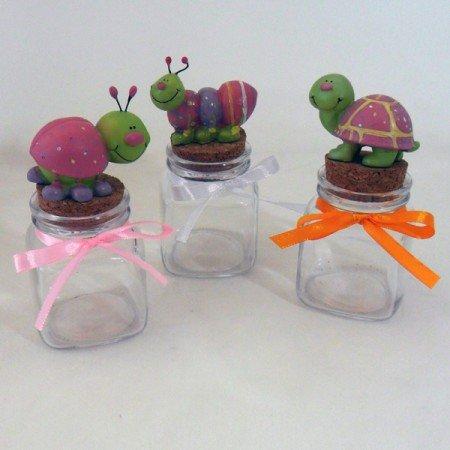 Bomboniere (2 bomboniere) animaletti rosa su barattoli quadrati in vetro