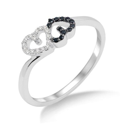 Miore Damen-Ring 750 Weißgold mit Herzen Brillanten Weiß und Schwarz Gr. 54 MF8014RO (Herz Schwarz Und Weiß)