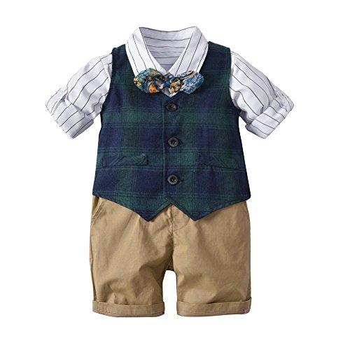 Qtongzhuang camicia gilet scozzese da ragazzo, abito da ragazzo, abito da ragazzo a quattro pezzi, vento britannico, 130 cm