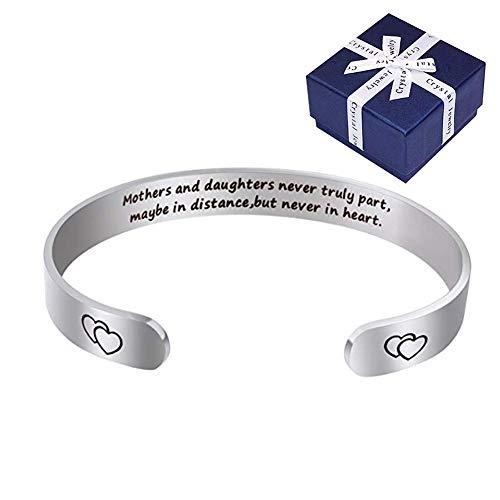 Geburtstagsgeschenke für Mama - CNNIK Mutter Cuff Armband von Tochter - Mothers and Daughters Never Truly Part, Maybe In Distance, But Never in Heart.