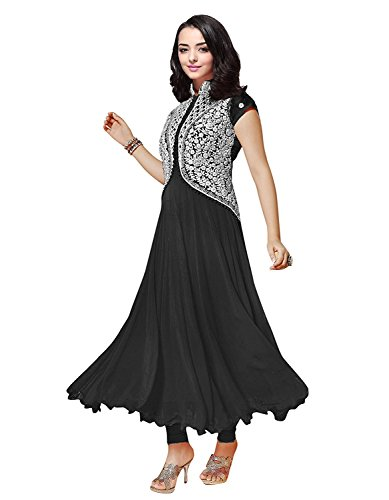 Clickedia Women's Georgette Women and Girls Koti style Anarkali Suit Black Free Size  available at amazon for Rs.329