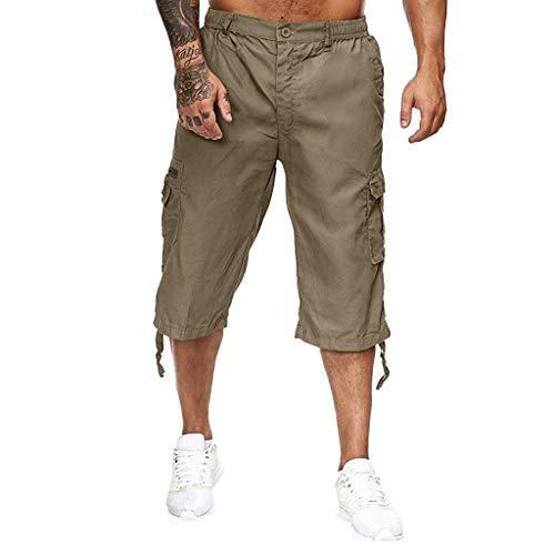 NnuoeN-Uomo Cargo Corti Pantaloni Corti Bermuda Cargo Pantaloncini Uomo Cotone Lavoro Pantaloni Tasconi con Elastico Pantofole Uomini Estive Casual Pantaloncino Sportivi Lunghezza del Ginocchio