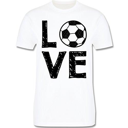 Fußball - Love Fußball - Herren Premium T-Shirt Weiß