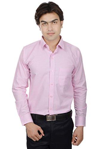 25th R Pink Cotton Blend Slim Fit Solid Plain Formal Shirts For Men