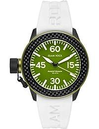 Glam Rock Unisex Racetrack 40mm weiß Silikon Band IP Stahl Fall Quarz grün Zifferblatt analoge Uhr grt29001F