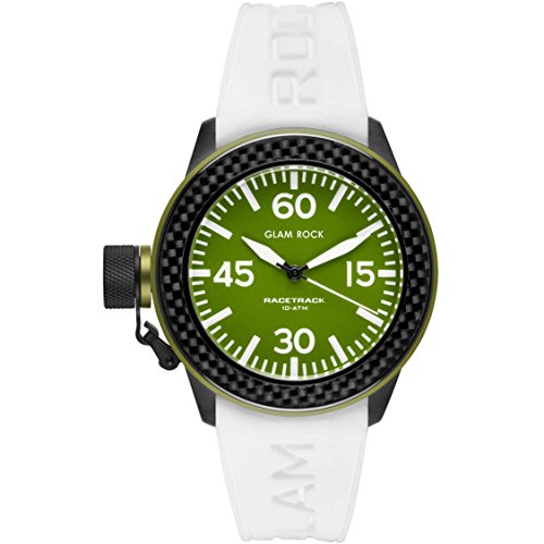 Glam Rock Unisex Racetrack 40mm White Silicone Band IP Steel Case Quartz Green Dial Analog Watch GRT29001F