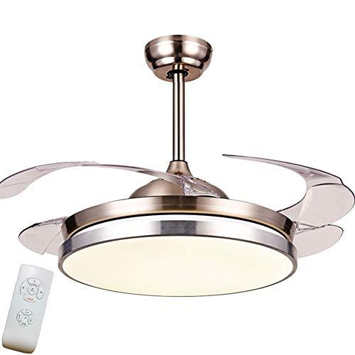42 Zoll 3 Ton Licht Fernbedienung Fan Kronleuchter Versenkbare Indoor Led Polieren Chrom Mute Unsichtbare Fan Decke Innenbeleuchtung