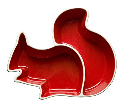 Sagaform 5015679 Holiday Squirrel Bowl Divided, Red Candy Dish Mint