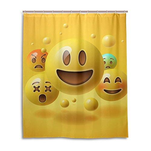 Neuheit Floral-design-print (jstel Decor Dusche Vorhang gelb Smiley Emoticons Emoji-Muster Print 100% Polyester Stoff Vorhang für die Dusche 152,4x 182,9cm für Home Badezimmer Deko Dusche Bad Vorhänge)