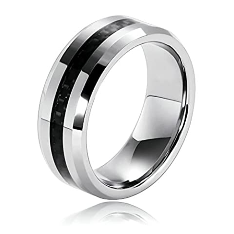 Epinki Men's Tungsten Ring Circle Carbon Fiber Inlay And Beveled Edges Silver Black Size V 1/2