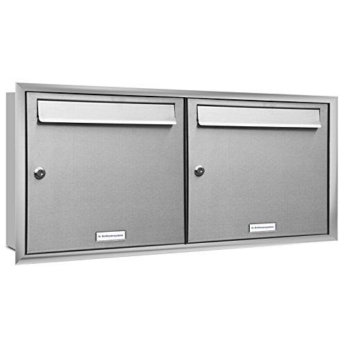 AL Briefkastensysteme, 2er Unterputzbriefkasten, Briefkasten rostfrei, 2 Fach Briefkastenanlage modern, Edelstahl Postkasten