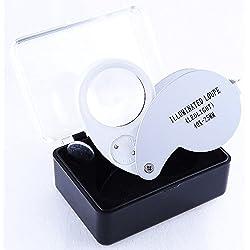 Lupa LED 40x, Lupa Iluminada de Precisión con 40 Aumentos y 25mm de Diámetro, Electrónica Rey®