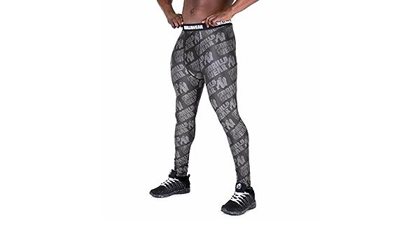 GORILLA WEAR San Jose Herren Collant Schwarz//Grau Leggings Bodybuilding Strato di Compressione Nero//Rosso, M