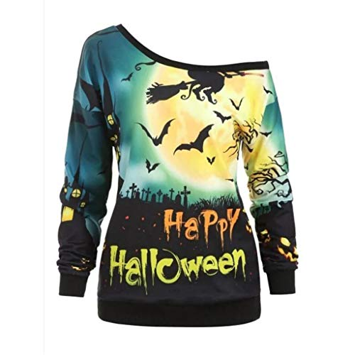 Baby Muster Kostüm Fisch - Supertong Damen Jumper Skew Neck Halloween Weihnachten Kostüm Mode 3D-Druck Bat Kürbis Muster Frauen Halloween Party-Oberteile Pullover Sweatshirt Brief Drucken Langarm Schulterfrei T-Shirt