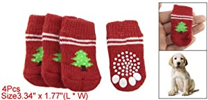 Red White Nonslip Christmas Tree Print Pet Dog Knitted Socks from sourcingmap