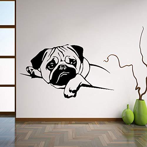 yiyiyaya Welpen Mops Hund Wandtattoos Haustier Vinyl Aufkleber niedlichen Tiere Home Decor Ideen Zimmer Interior Design Wandkunst für Kinderzimmer 42 * 75 cm