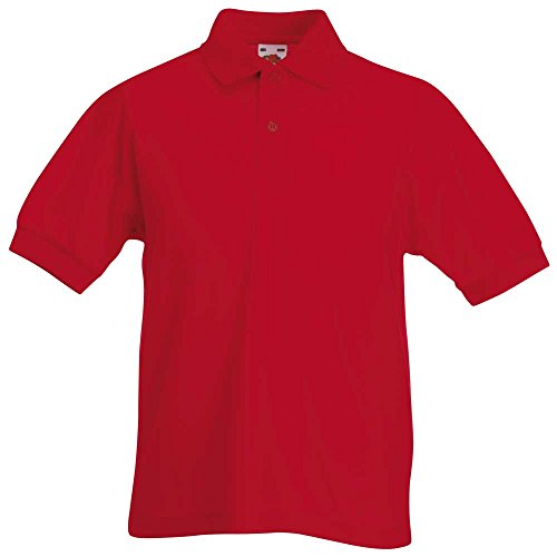 Fruit of the Loom Kid's Short Sleeve Pique Polo Shirts Red