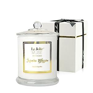 La Jolíe Muse Duftkerze Geschenkbox Jasmin 100% Sojawachs Aromatherapie Kerze im Glas 60Std