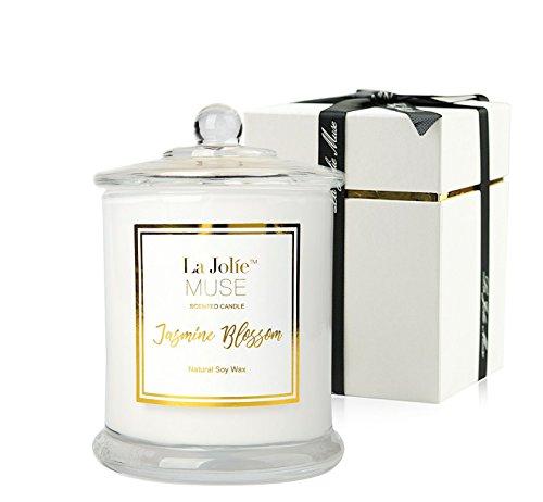 La Jolíe Muse Vela perfumada Jazmín 100% Cera de Soja Aromaterapia Vela en el Cristal Caja de Regalo 60h