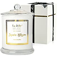 La Jolíe Muse Scented Candle Gift Christmas, Jasmine 100% Soy Wax in Glass Jar 60 Hours