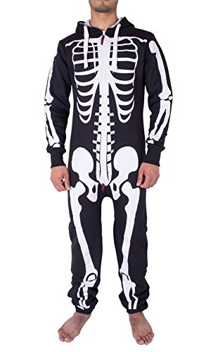 Herren Unisex Halloween Skelett All in One Onesie Jumpsuit Overall (XL, (Overall Halloween Kostüm)