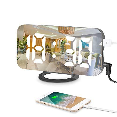 Reloj despertador digital, 6.5 Pulgadas Grande LED Espejo alarma Digital Moderno con Dual USB Puertos...