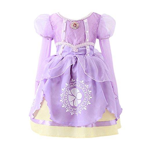 Pettigirl Mädchen Prinzessin Kostüm Kinder Rapunzel Kleid Weihnachten Verkleidung Karneval Party Halloween Fest 7Jahre (Tangled Erwachsene Kostüm)