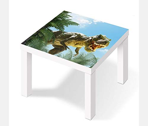 Möbelaufkleber für Ikea Lack Tisch 55x55cm Kinderzimmer cartoon T-Rex Dino böse Kat2 Dschungel Drache LT1 Aufkleber Klebefolie Möbelfolie Folie (Ohne Möbel) 25W2646 -
