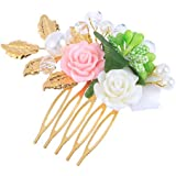 Frcolor Gold Flower And Beads Hair Slide Comb Wedding Hair Accessories For Brides Bridesmaids