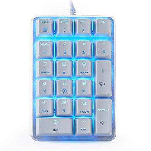 Mechanische Zifferntastatur GATERON Brown Switch Verdrahtetes Eis Blau Backlit Gaming Tastatur 21 Tasten Mini Nummernblöcke Tragbares Tastenfeld Erweitertes Layout Weiß Magicforce by Qisan