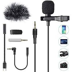 AGPTEK Lavalier Mikrofon, 2m Mini Omnidirectional Kondensator mit 2 Transformation und Type C Adapter und Windschutz für Interview, Videokonferenz, Podcast, Diktat usw.
