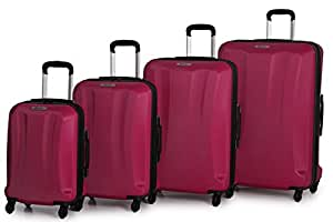Rock Wyoming Set of 4 Hard Shell Four Wheel Expandable Trolley Cases in Cerise