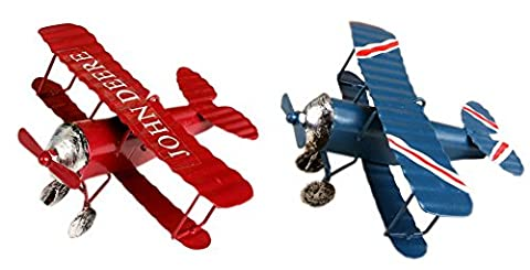 Set of 2 Kids Room Collectible Figurines, Retro Metal Airplane Blue & Red