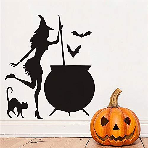 wandaufkleber 3d Wandtattoo Kinderzimmer Hexenkessel-Trank Fledermäuse Black Cat Home Halloween für Wohnzimmerdekoration