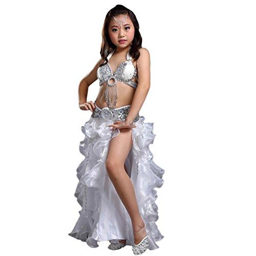 (Xinwcang Mädchens Kleid Bauchtanz Pailletten Dance Kleidung Halloween Karneval Darbietungen Kostüme Top + Rock Set Silber (3PC) One Size)