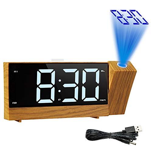 Cqing Despertador de la proyección, Digital Radio Reloj con Alarma Doble, proyección de Techo Regulable...