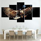 cmhai (Pas De Cadre) L'Aigle Volant Animal 5 Pièce Fonds D'Écran Moderne Modulaire Affiche Art Toile Peinture pour Salon Home Decor