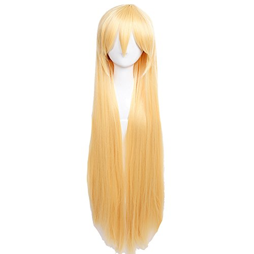 Lange Gerade voller Kopf Perücken Cosplay Kostüm Party Fancy Kleid Top Qualität Golden Blonde (40 S Halloween-kostüme Uk)