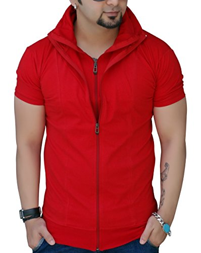 Black Collection Men's Full-Zip Cotton T-Shirt (Red, Medium)