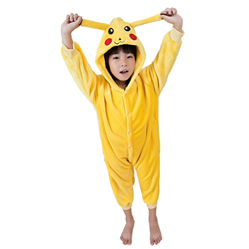 Cool&D Kinder Schlafanzug Onesie Jumpsuits Tier Pyjama Hausanzug Flanell Kostüme mit (Pikachu Jungen Kostüme)