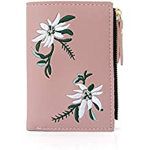 WeoHau Estilo Chino Bordado Cartera Corta PU Mini Bolso De Embrague Multifunción 12X9 Cm