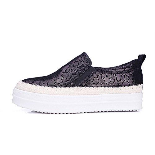 scarpe Autunno inverno/Tondo testa piattaforma scarpe/Scarpe donne di grandi dimensioni/scarpe casual-A Lunghezza (Grigio Suede Piattaforma)