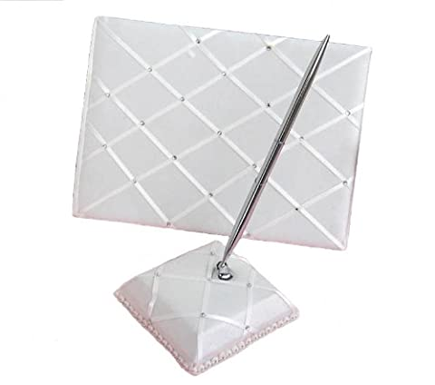 Ivory Wedding Guest Book and Pen and Pen Holder Set with Diamante Boxed