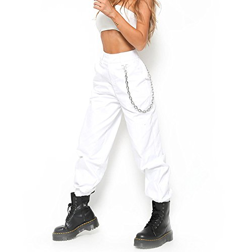 Donna estate camuffamento pantaloni sciolto camouflage stampa sportivi tempo libero jeans hip hip cargo pantaloni,s-2xl,mambain … (m, bianco)