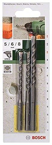 Bosch 2609256908 Set de 3 forets à béton SDS-Quick pour Perforateur UNEO Diamètre 5-6-8 mm