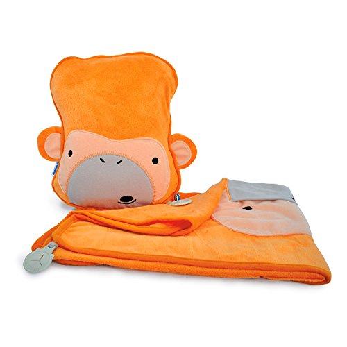 Trunki Snoozihedz - Set de almohada y manta con diseño mono, color naranja
