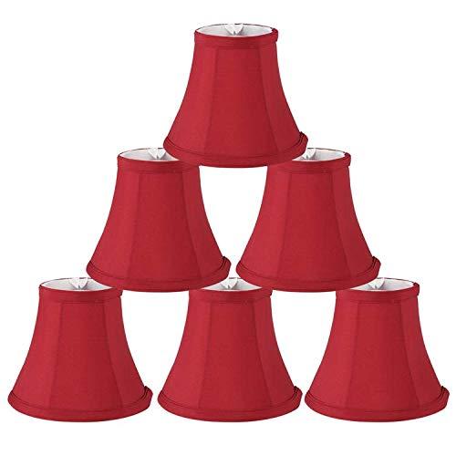 Lampenschirme für Kronleuchter mit Glocke, Rot, 6 Stück